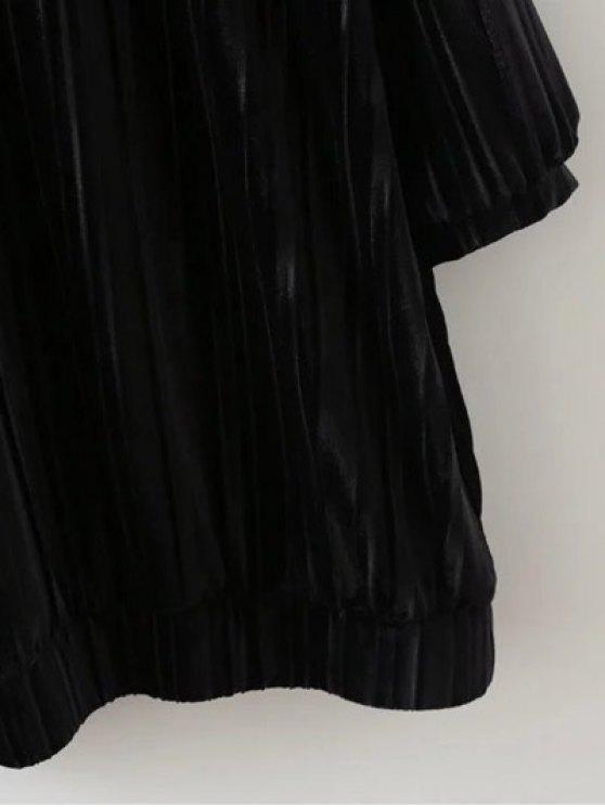 Elastic Hemline Relaxed Velvet Dress - BLACK M Mobile