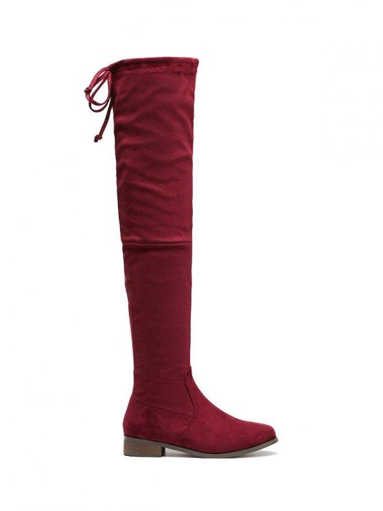 El talón plano de la cremallera Flock cosa botas altas - Vino rojo 39