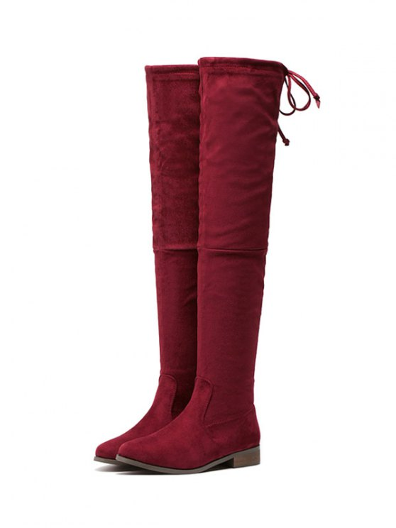 Flat Heel Flock Zipper Thing High Boots - WINE RED 39 Mobile