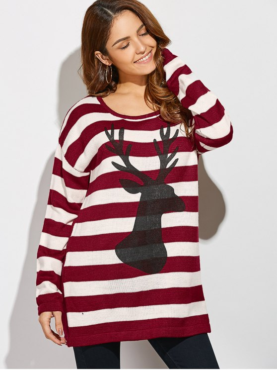 Christmas Striped Back Button Sweater - STRIPE ONE SIZE(FIT SIZE XS TO M) Mobile