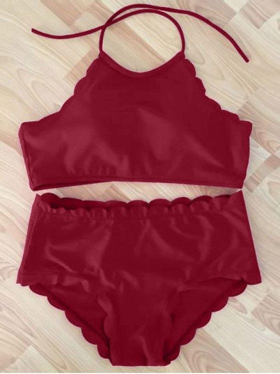 High Neck Scalloped Bikini Set - WINE RED L Mobile