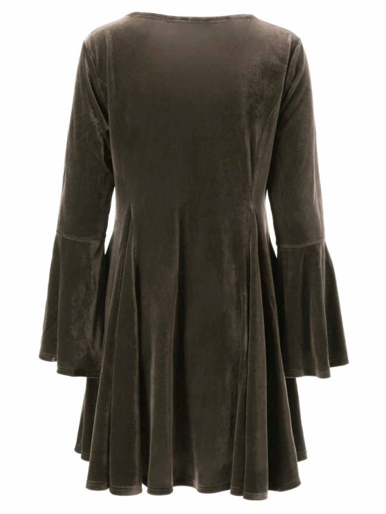 Velvet Bell Sleeves Fit and Flare Dress - BRONZE 3XL Mobile