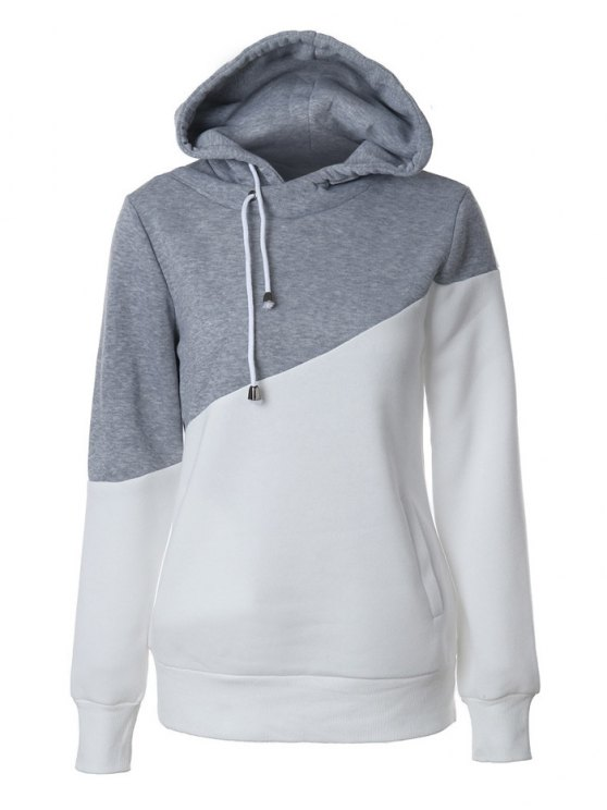 latest Casual Color Block Hoodie - GREY AND WHITE M