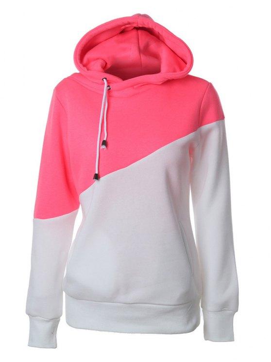 Chandail à capuche casual à couleur en bloc - Rouge et Blanc L