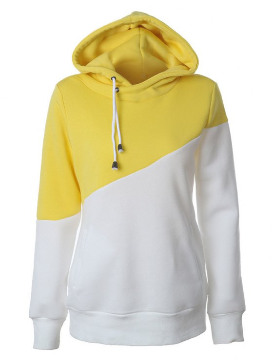 Chandail à capuche casual à couleur en bloc - Jaune XL