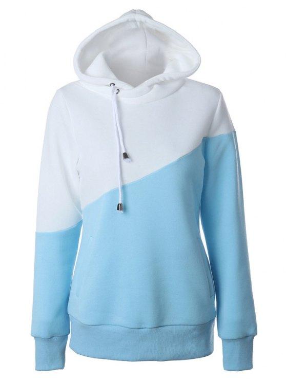 Chandail à capuche casual à couleur en bloc - Bleu et Blanc M