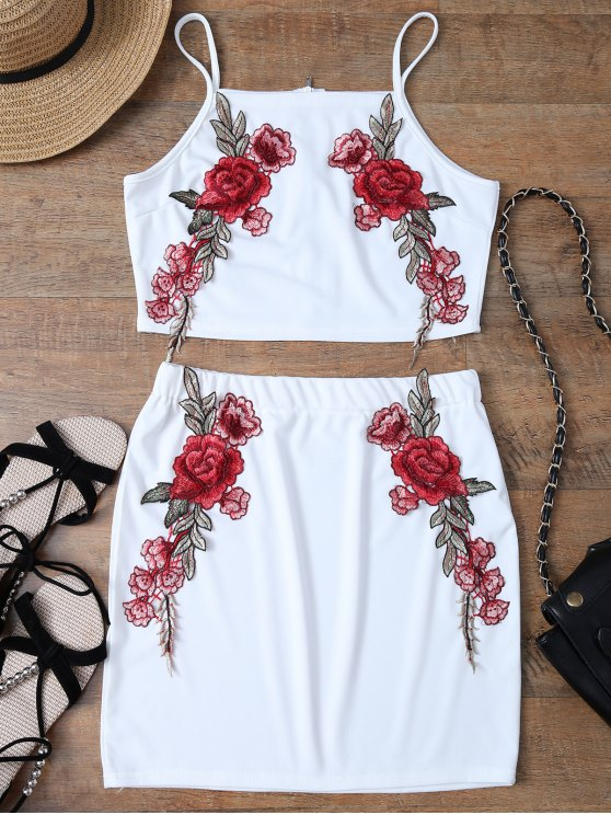 women Floral Embroidered Zippered Top with Skirt - WHITE M