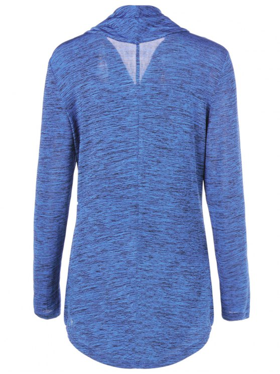 Heather Side Zipper Plus Size Jacket - BLUE LIGHT 3XL Mobile