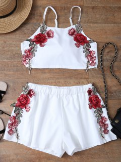 Applique Bowknot Top With Shorts - White S