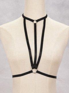 Bra Bondage Harness Geometric Body Jewelry - Black