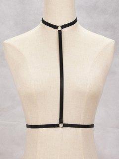 Bra Bondage Harness Cut Out Body Jewelry - Black