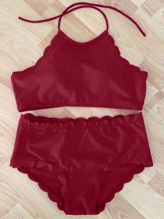 High Neck Scalloped Bikini Set - Wine Red M