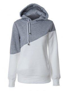 Casual Color Block Hoodie - Grey And White L