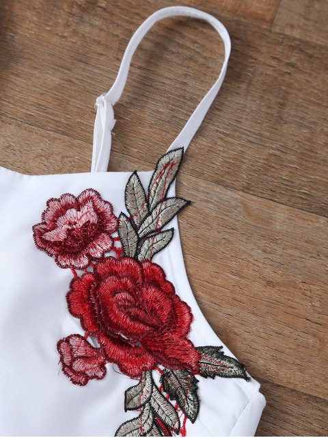 womens Embroidered Bowknot Top with Shorts - WHITE L Mobile