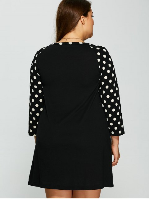 shop Polka Dot Print Sleeve Plus Size Dress - BLACK XL Mobile