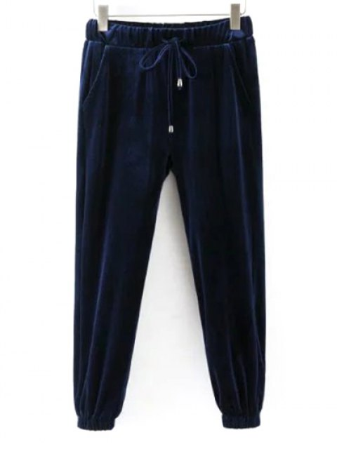 lady Drawstring Velvet Joggers Pants - CADETBLUE S Mobile