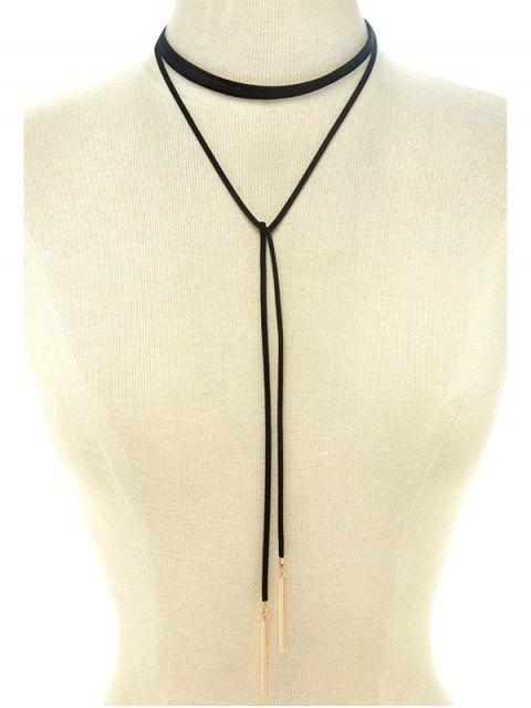 trendy Choker Ribbon Bar Sweater Chain - BLACK  Mobile
