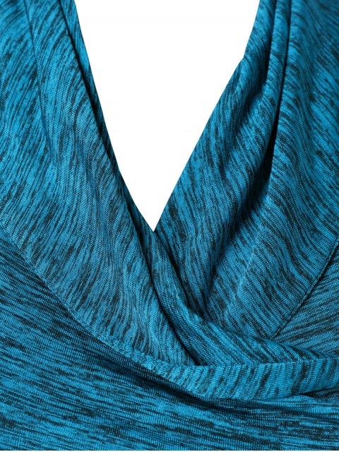 affordable Heather Side Zipper Plus Size Jacket - LAKE BLUE 3XL Mobile