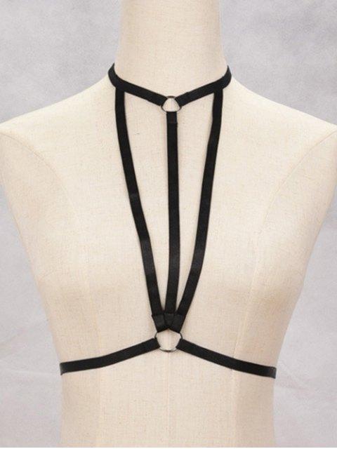Bijoux de corps bondage forme soutiens-gorge harnais géométriques - Noir  Mobile
