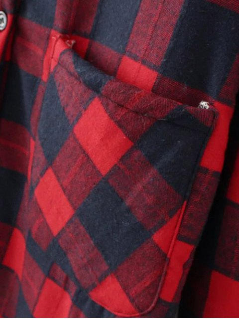 buy Hooded Plus Size Plaid Fleeced Coat - WHITE AND BLACK 2XL Mobile