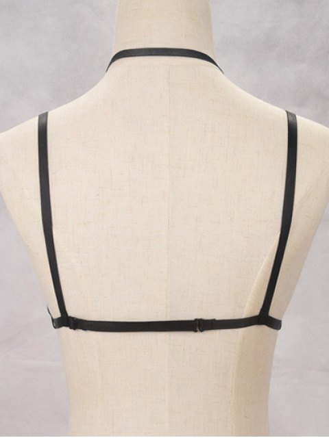 trendy Bra Bondage Harness Layered Body Jewelry - BLACK  Mobile