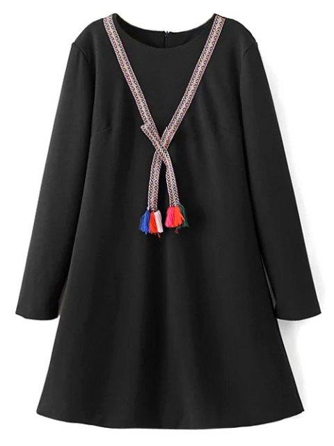 best Tasselled Chevron Tunic Dress - BLACK L Mobile