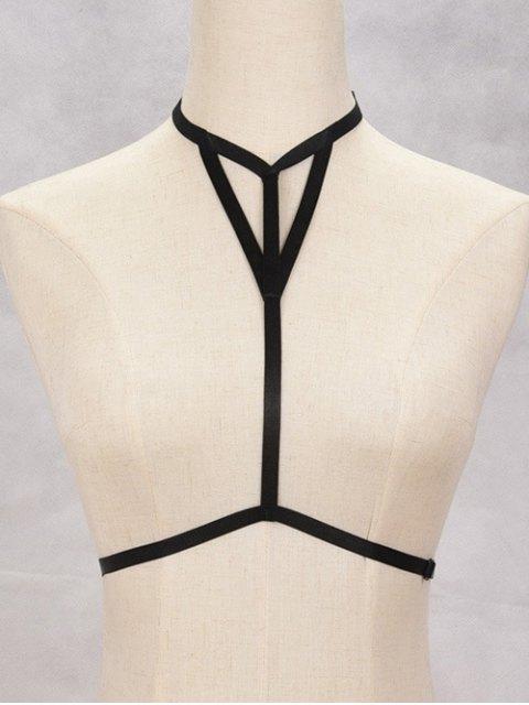 chic Hollowed Bra Bondage Harness Body Jewelry - BLACK  Mobile