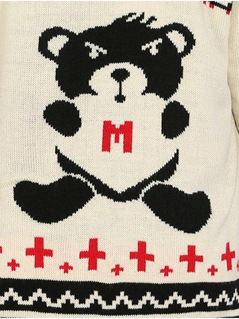 women Graphic Geometric Knit Graphic Cardigan - WHITE XL Mobile