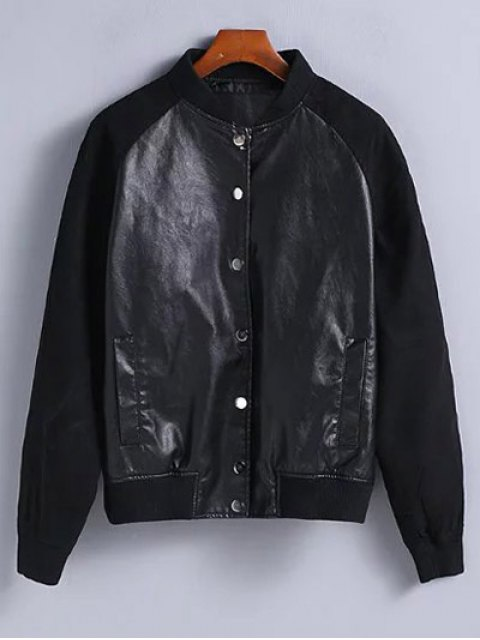 unique PU Leather and Suede Bomber Jacket - BLACK L Mobile