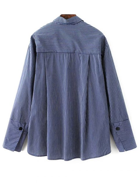 outfits Patch Pocket Striped Blouse - CADETBLUE L Mobile