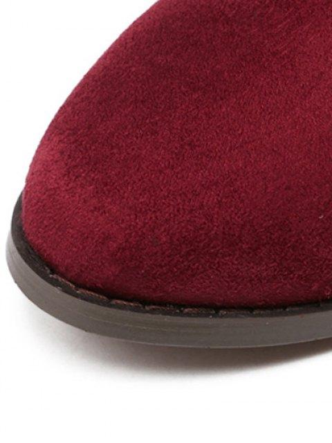 womens Flat Heel Flock Zipper Thing High Boots - WINE RED 39 Mobile