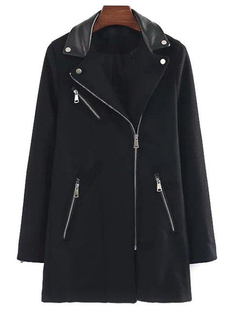 womens PU Detail Wool Blend Coat - BLACK M Mobile