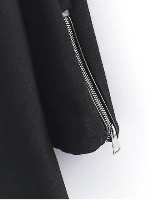 buy PU Detail Wool Blend Coat - BLACK L Mobile