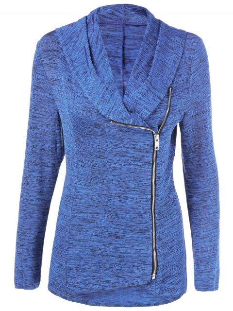 outfits Heather Side Zipper Plus Size Jacket - BLUE LIGHT 4XL Mobile