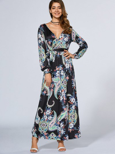 Long Sleeve Crossover Maxi Dress - Purplish Blue