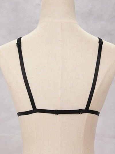 Bra Bondage Harness Embellished Body Jewelry - BLACK  Mobile