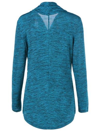 Heather Side Zipper Plus Size Jacket - LAKE BLUE 2XL Mobile