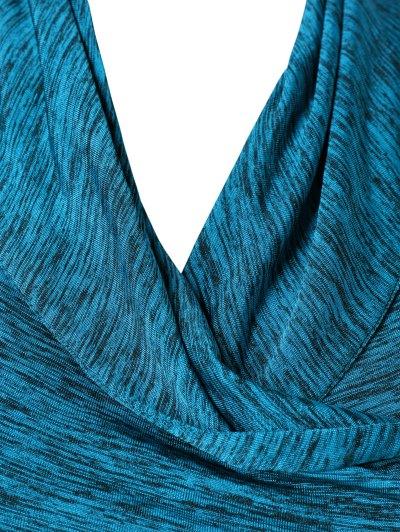 Heather Side Zipper Plus Size Jacket - LAKE BLUE 4XL Mobile