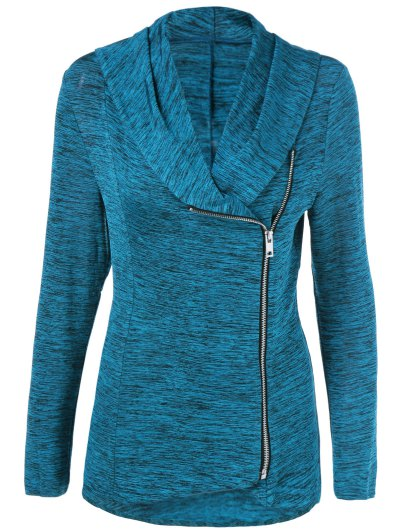 Heather Side Zipper Plus Size Jacket - LAKE BLUE 5XL Mobile