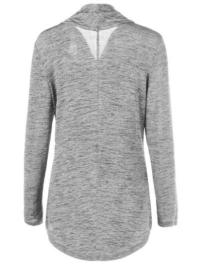 Heather Side Zipper Plus Size Jacket - GRAY 5XL Mobile