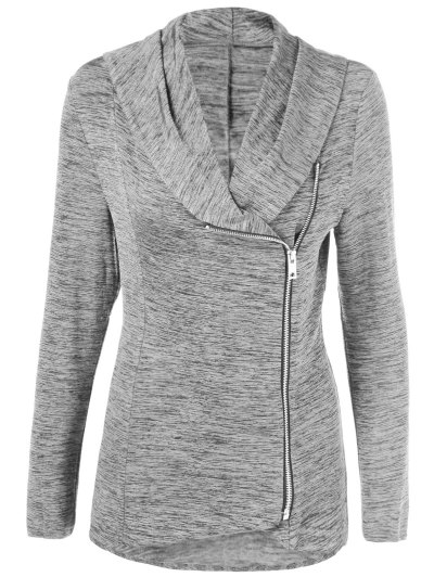 Heather Side Zipper Plus Size Jacket - GRAY 2XL Mobile