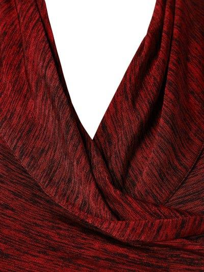 Heather Side Zipper Plus Size Jacket - BURGUNDY 5XL Mobile