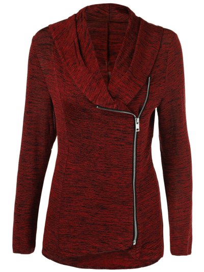 Heather Side Zipper Plus Size Jacket - BURGUNDY 3XL Mobile