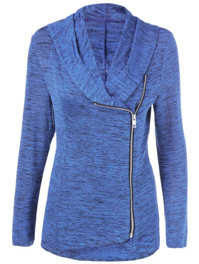 Heather Side Zipper Plus Size Jacket - BLUE LIGHT 5XL Mobile