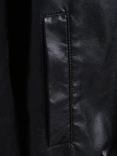 PU Leather and Suede Bomber Jacket - BLACK L Mobile