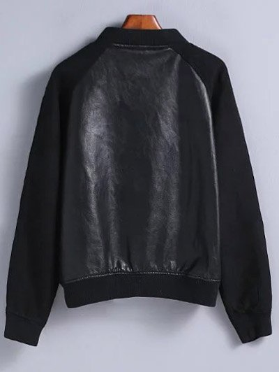 PU Leather and Suede Bomber Jacket - BLACK M Mobile