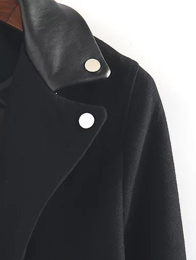 PU Detail Wool Blend Coat - BLACK L Mobile