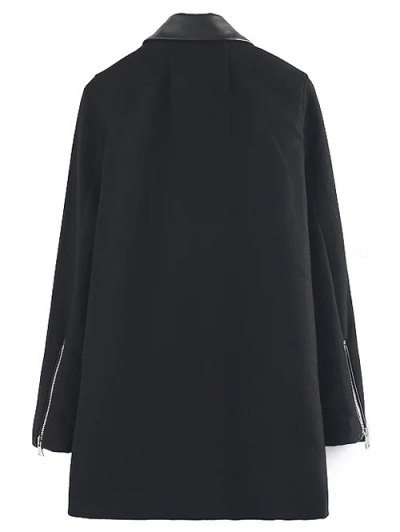 PU Detail Wool Blend Coat - BLACK M Mobile
