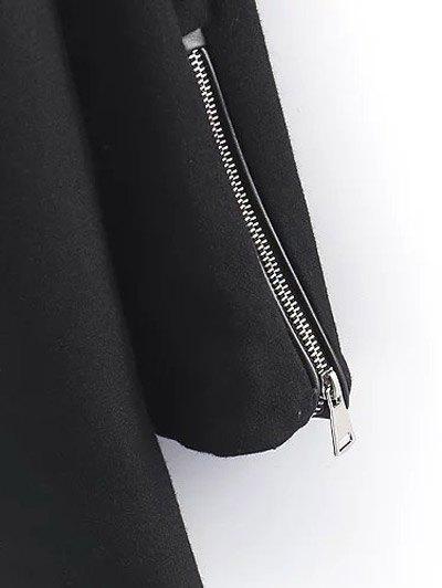 PU Detail Wool Blend Coat - BLACK S Mobile