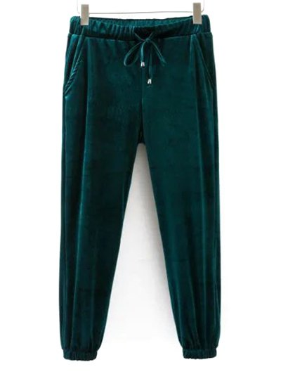 Drawstring Velvet Joggers Pants - GREEN M Mobile